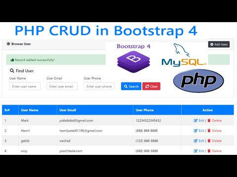 PHP CRUD (Create, Read, Update, Delete) Tutorial with MySQL + Bootstrap 4 # PART 1 thumbnail