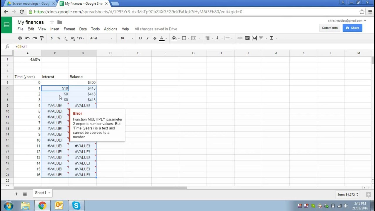 basic spreadsheet use part 1 modelling a savings account with
