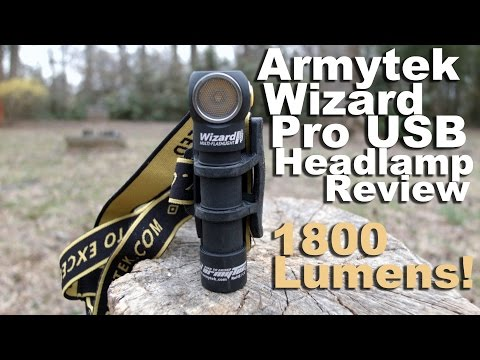 Armytek Wizard Pro USB Headlamp Review.  1800 Lumens and Headlamp Comparison!