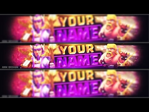 FREE Clash of clans youtube banner template#10 | Photoshop + Tutorial