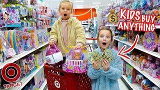 KIDS NO BUDGET TARGET SHOPPING! 🤑 Peyton & Olivia Toy Haul
