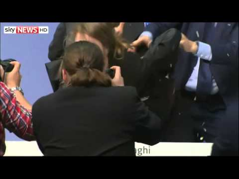 European Central Bank President Mario Draghi Attacked By Protester
