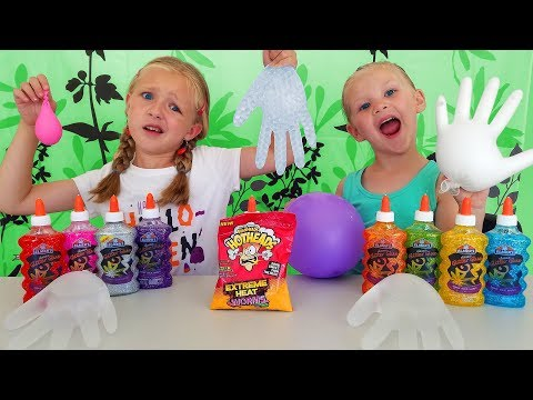 Find Your Slime Ingredients Challenge! Trying Extreme Heat WarHeads!!