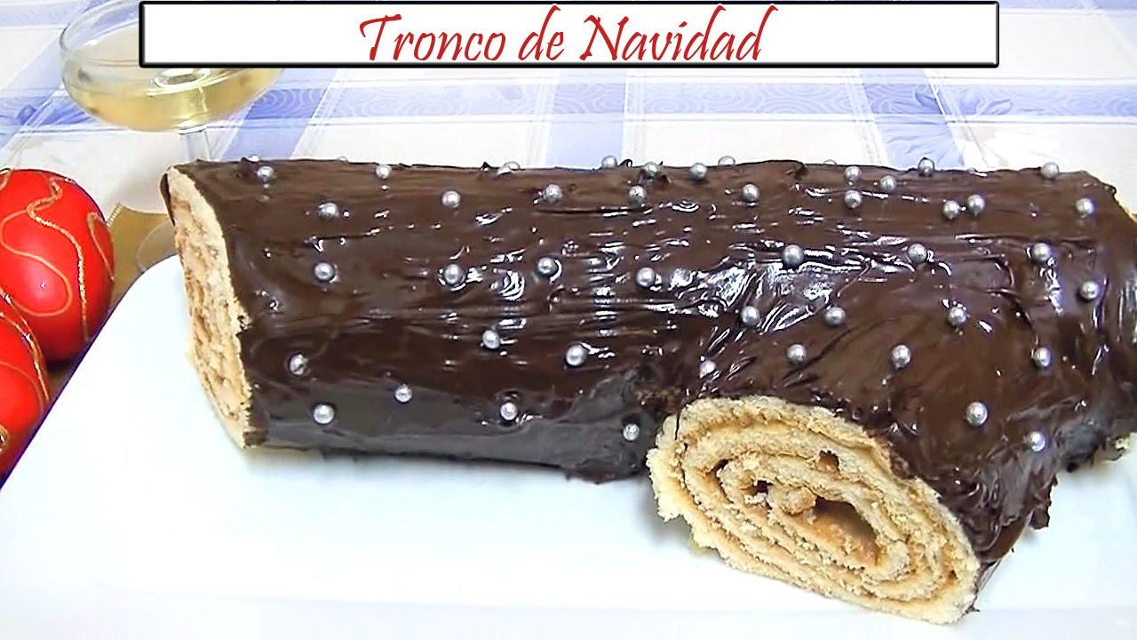 Tronco de navidad con crema de turr n y chocolate receta for Cocina de navidad con sara