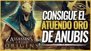 Assassin's Creed Origins | Cómo Conseguir ATUENDO ANUBIS DORADO EQUIPO COMPLETO + ARCO ASESOR MA'AT