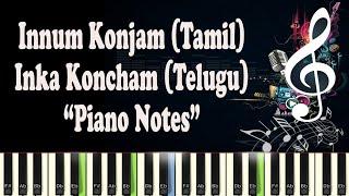 Innum Konjam Neram (AR Rahman) Mariyaan, inka koncham sepu, maryan, piano notes, midi, Karaoke,