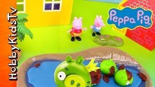 Peppa Pig Cleans PLAY-DOH Mud on Toy Piggies HobbyKidsTV