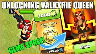 UNLOCKING VALKYRIE QUEEN | 3000 GEMS SPREE | GEMMING VALKYRIE QUEEN | NEW COC UPDATE