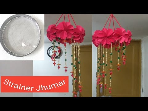 Diy - Wind Chime || How To Make Jhumar using Paper || Wall Hanging || Wool Craft Felt.
