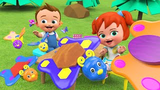 Learning Shapes for Kids | Butter Fly Shapes Toy Set | 3D Animated Cartoon Videos with Little Babies