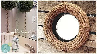 COASTAL NAUTICAL ROPE WREATH MIRROR DOLLAR TREE DIY | MARBLE EFFECT | FARMHOUSE | HOME DECOR | CRAFT