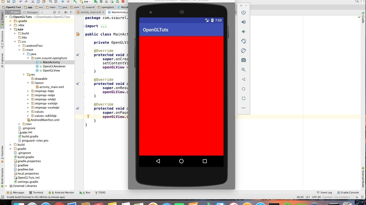 Create your first OpenGL App with Android Studio