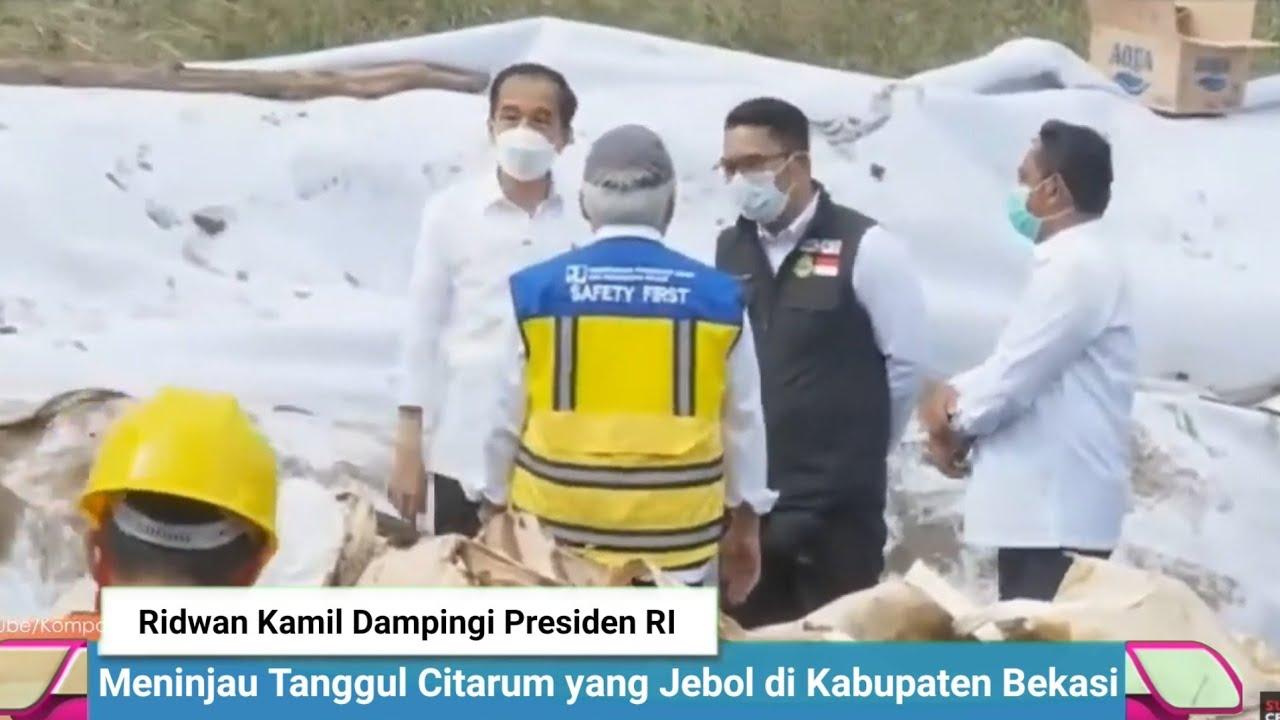 Ridwan Kamil Dampingi Presiden Joko Widodo meninjau Tanggul Citarum yang Jebol di Kabupaten Bekasi