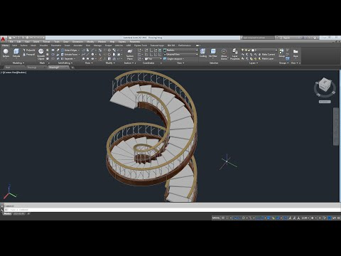 AutoCAD 2016  Spiral Staircase 3D(บันไดเวียน)