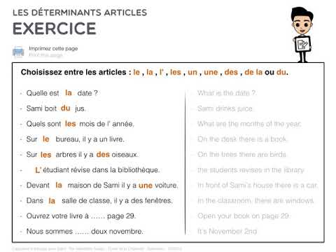 Les Determinants Articles Exercice 1 Youtube
