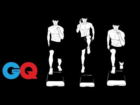 GQ active一登階分腿蹲跳加抬膝