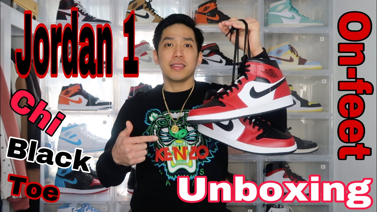 Air Jordan 1 Mid Chicago Black Toe Unboxing And On Feet Youtube