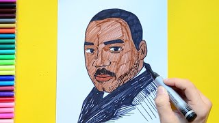 How to draw and color Martin Luther King Jr.