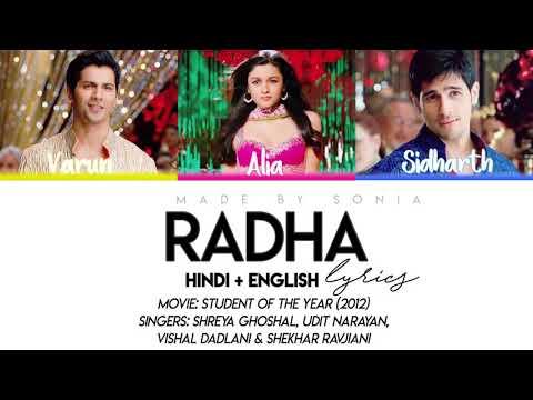 STUDENT OF THE YEAR - Radha (Lyrics/Hindi/Eng)