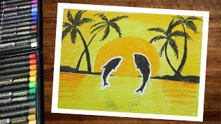 How to draw landscape dolphin sunset scenery using oil pastel
