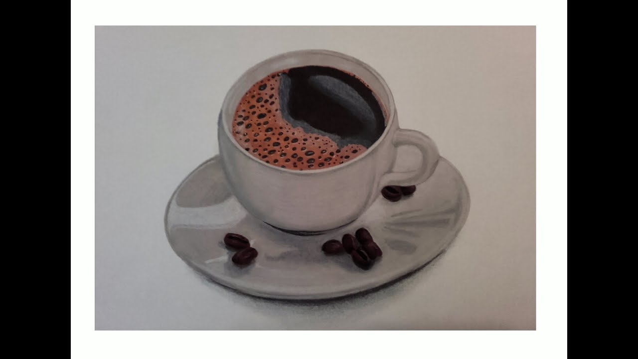 Dessiner une tasse de caf r aliste promarker et pastel sec speed drawing youtube - Tasse de cafe dessin ...
