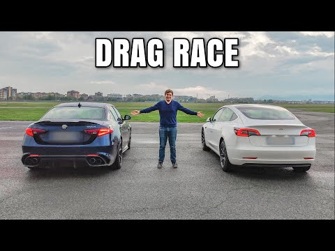 Alfa Romeo Giulia Quadrifoglio vs Tesla Model 3 - DRAG RACE 🏁