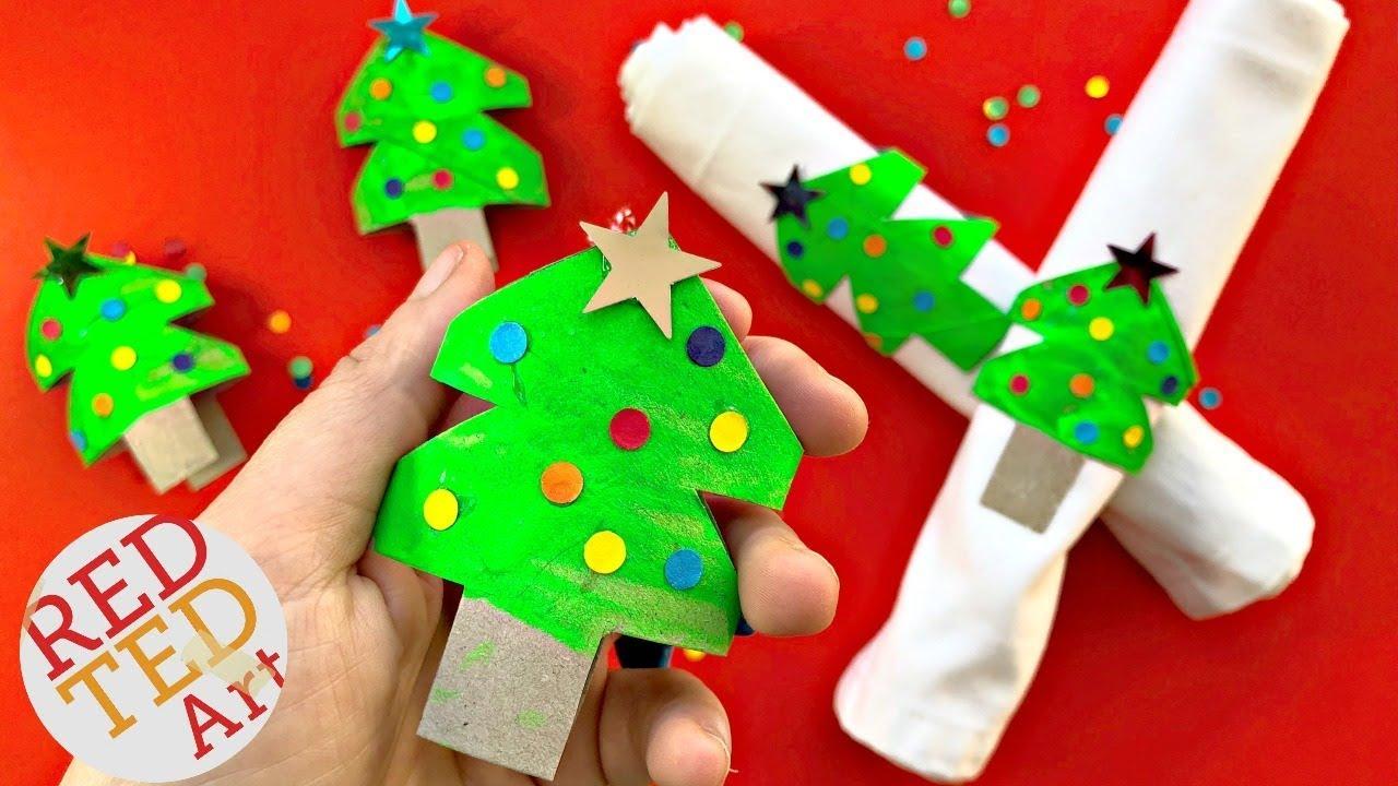 Christmas Tree Napkin Rings.Toilet Paper Roll Christmas Tree Napkin Rings Ornaments