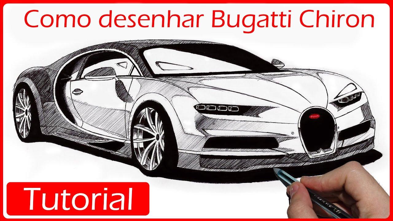How To Draw A Bugatti Chiron >> COMO DESENHAR CARROS: Bugatti Chiron - YouTube