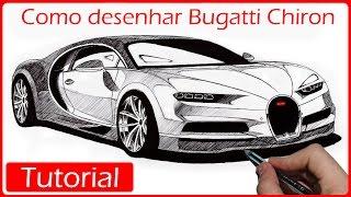 Como desenhar carros: Bugatti Chiron (O carro mais rápido do mundo)