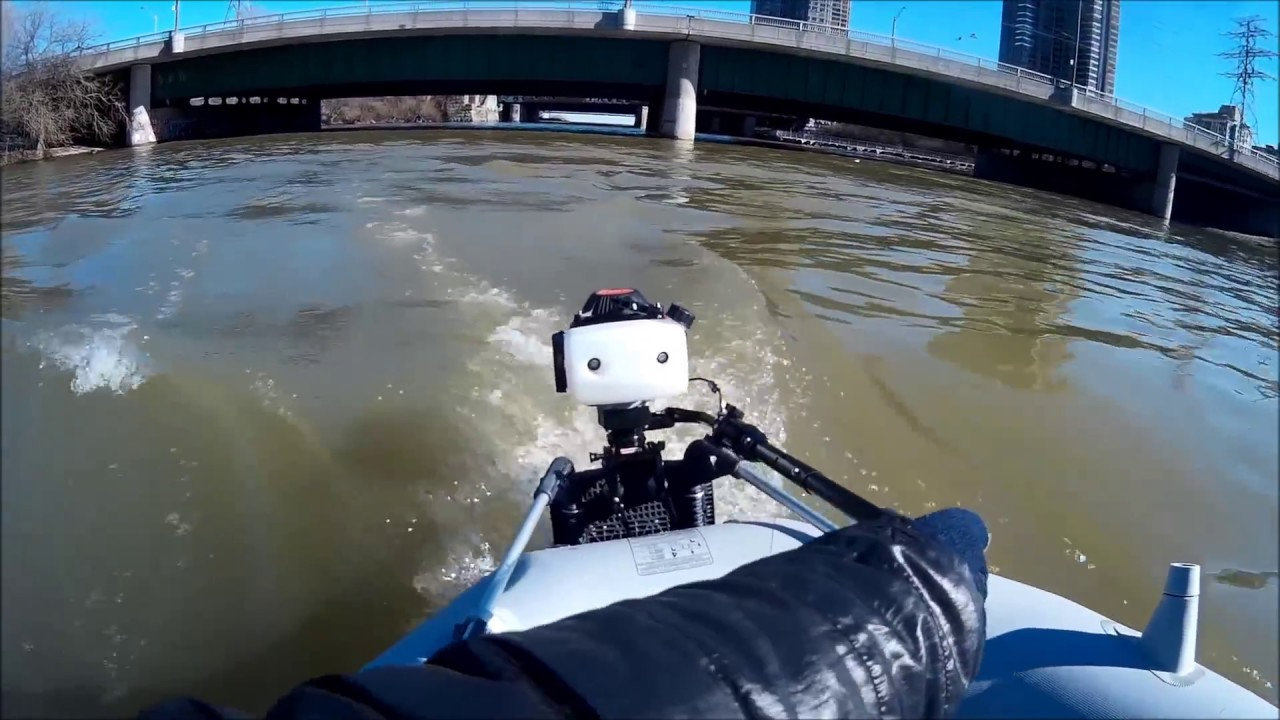 Hangkai 4 Stroke 3 6HP on Intex Mariner 4 at Humber river-first test