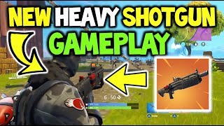 FORTNITE NEW HEAVY SHOTGUN First GAMEPLAY! + STATS! New Weapon Shotgun [UPDATE 3.3+ BATTLE Royale]