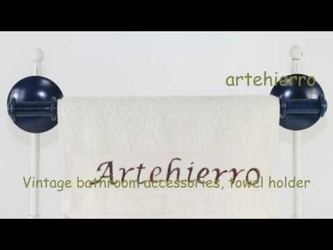 Vintage bathroom accessories, towel holder idea for decoration