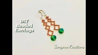 DIY Beaded Earrings. How to make beaded earrings. Geometric shaped beaded earrings 💞