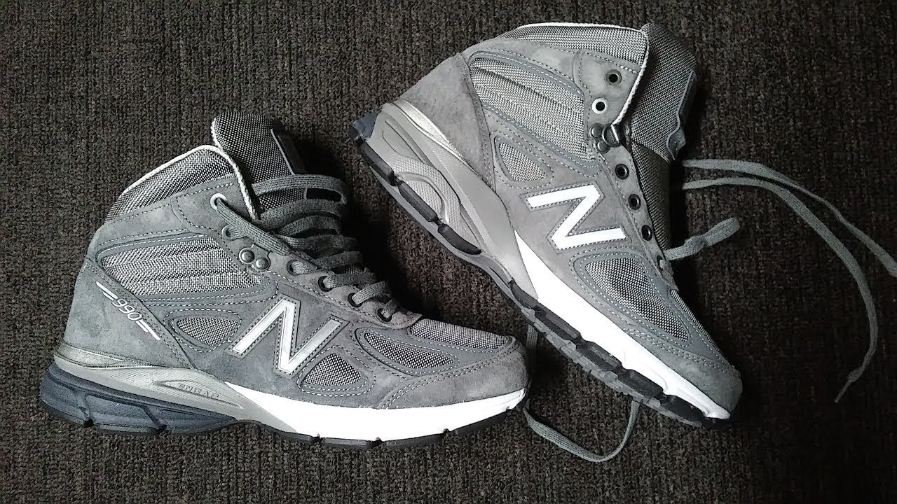 pretty nice d1f86 d6779 New Balance 990 V4 Mid Sneaker Boots Men unboxing on feet Review