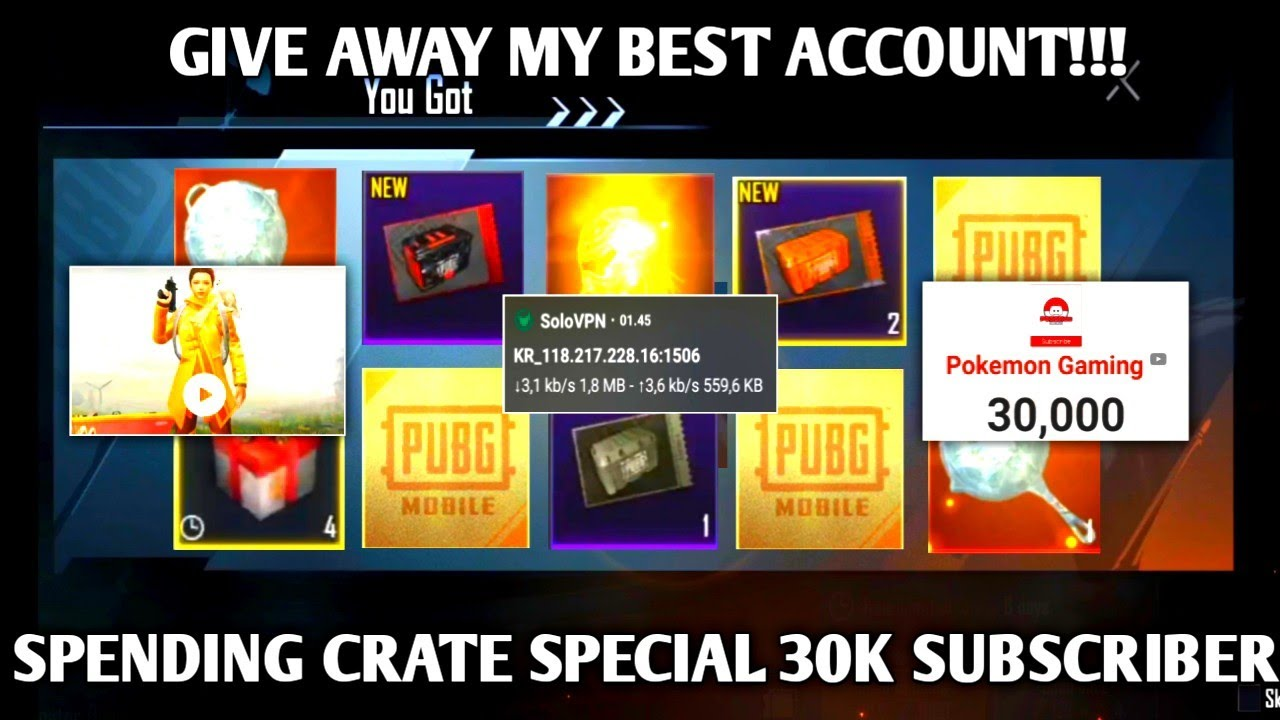 NEW OPENING CRATE WITH VPN ( KR SERVER) SPESIAL 30K SUB & GIVE AWAY | PUBG MOBILE KOREA