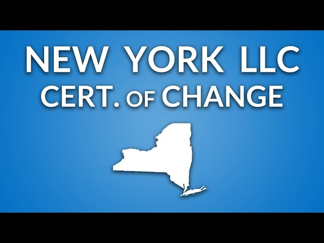 New York LLC - Certificate of Change