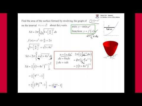 (21:59) UPenn Math 104 Surface Area of Revolution