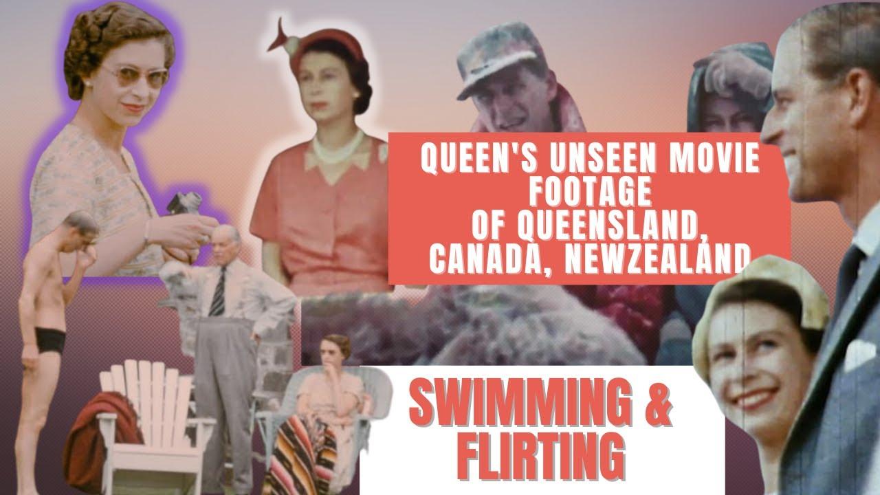 Queen's Unseen swimming & flirting movie footage of QueensLand, Canada, Newzealand