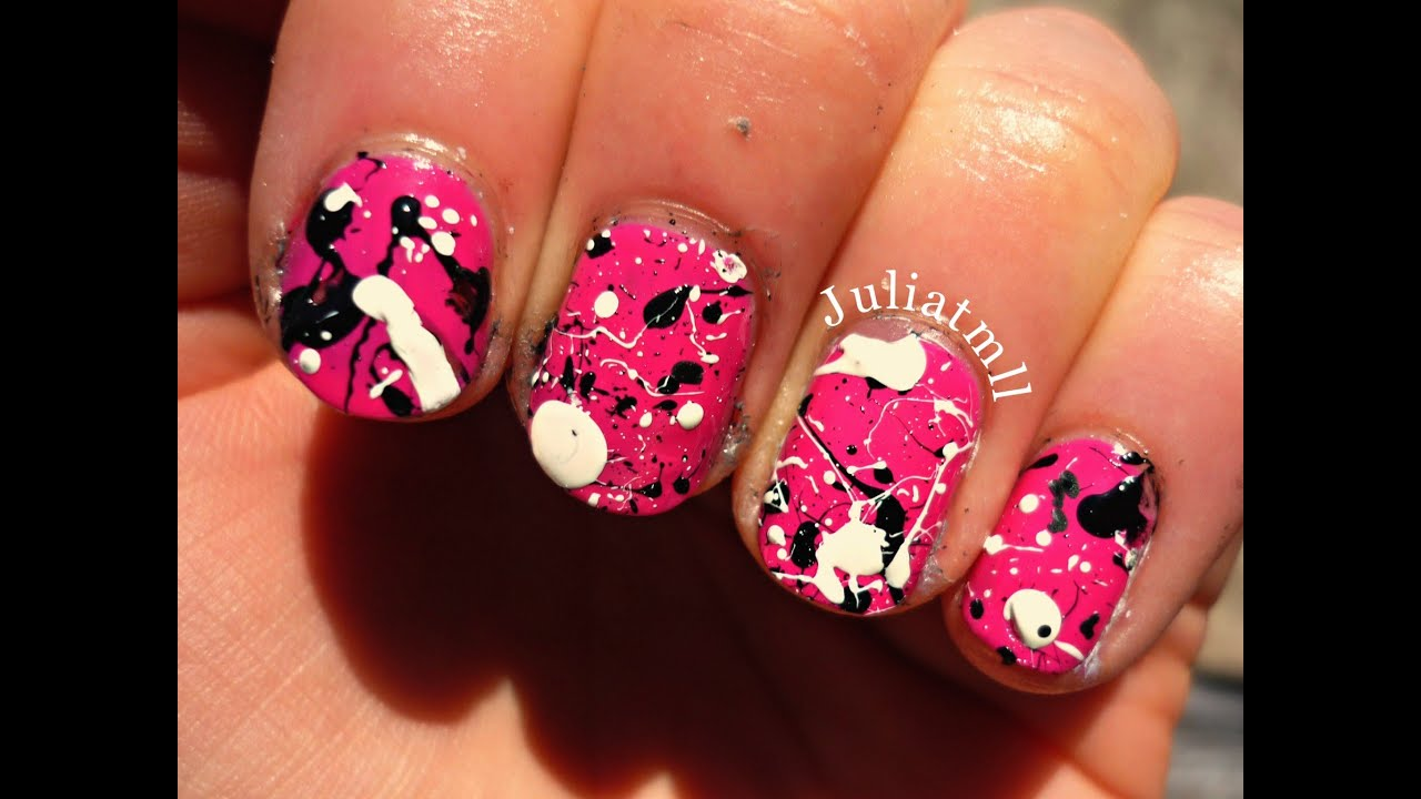 Splatter Effect Nails Using A Straw Youtube