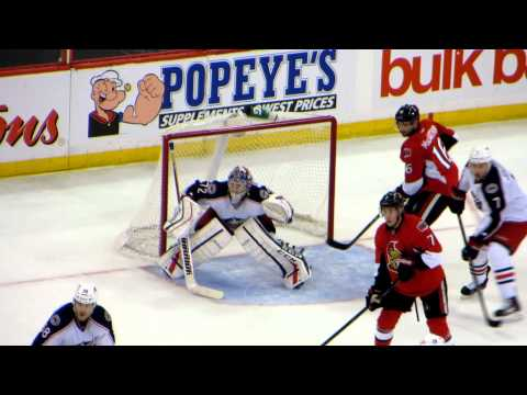 Sergei Bobrovsky in action during the Blue Jackets @ Senators game