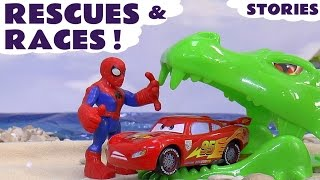 CARS Rescues and Races with Spiderman TMNT Thomas and Friends Toys Dragons Avengers Compilation