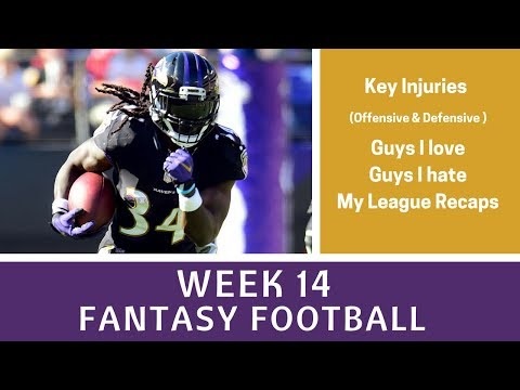Week 14 Fantasy Football - Key Injuries, Must Starts/Sits, Guy I Hate/Love, League Recaps +