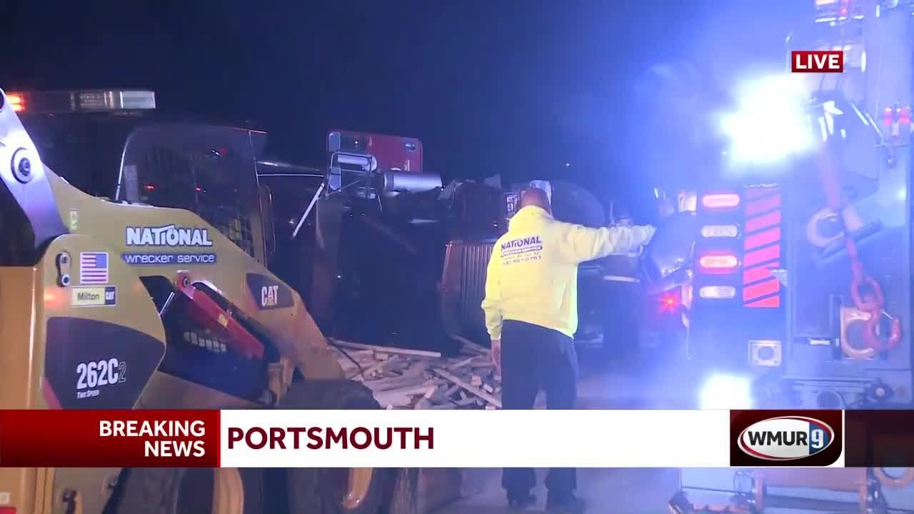 Tractor-trailer rollover shuts down Interstate 95 in Portsmouth
