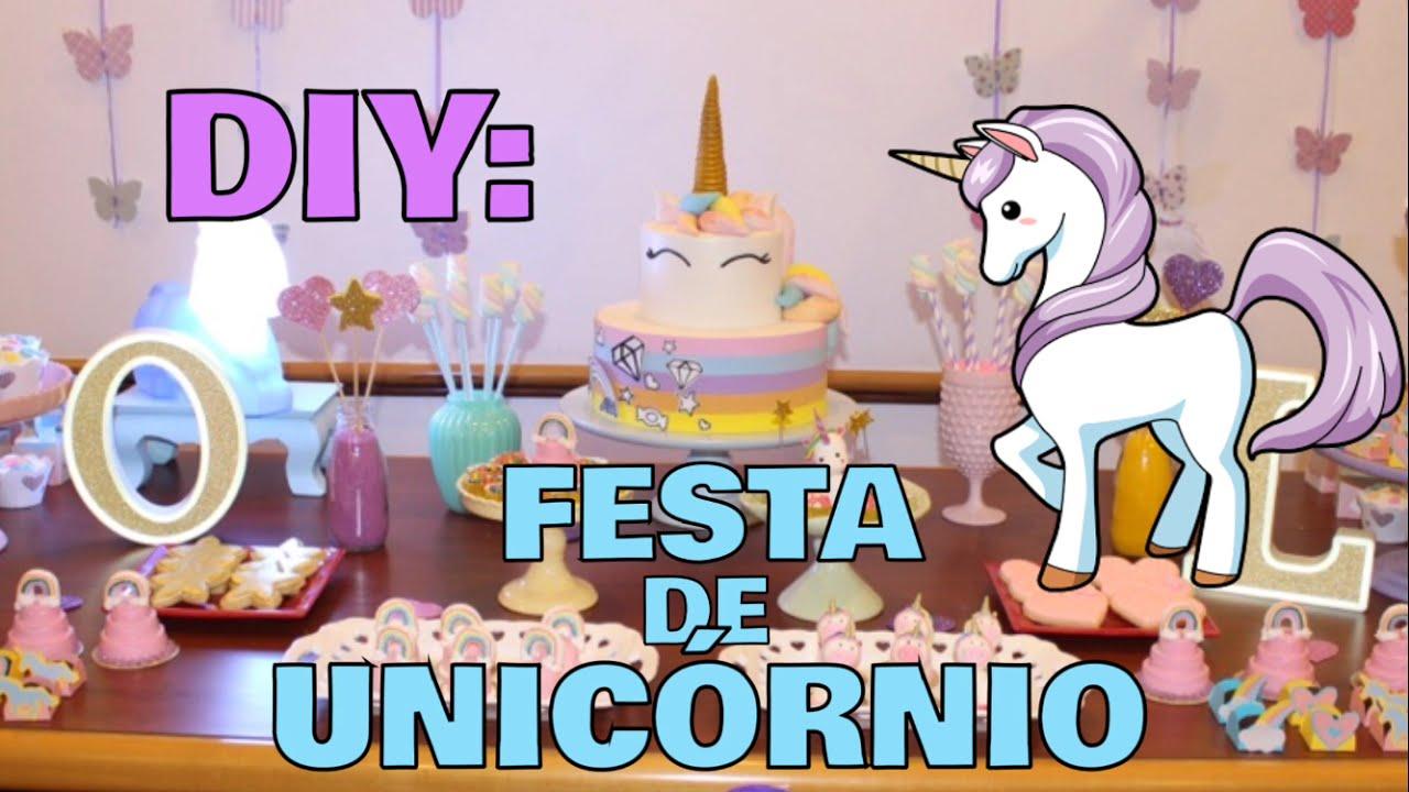 DIY COMO FAZER UMA FESTA DE UNICÓRNIO EM CASA YouTube -> Decoração De Unicornio Para Festa