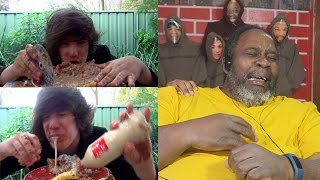 Dad Reacts to The HowToBasic Challenge (Krabby patty) *VOMIT WARNING*(WARNING)