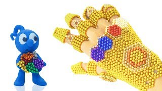 TINY MAKES GAUNTLET FROM MAGNETIC BALLS 💖 CLAY MIXER Play Doh Stop Motion