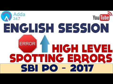SBI PO 2017- Spotting Errors- English Grammar - Online Coaching for SBI IBPS Bank PO