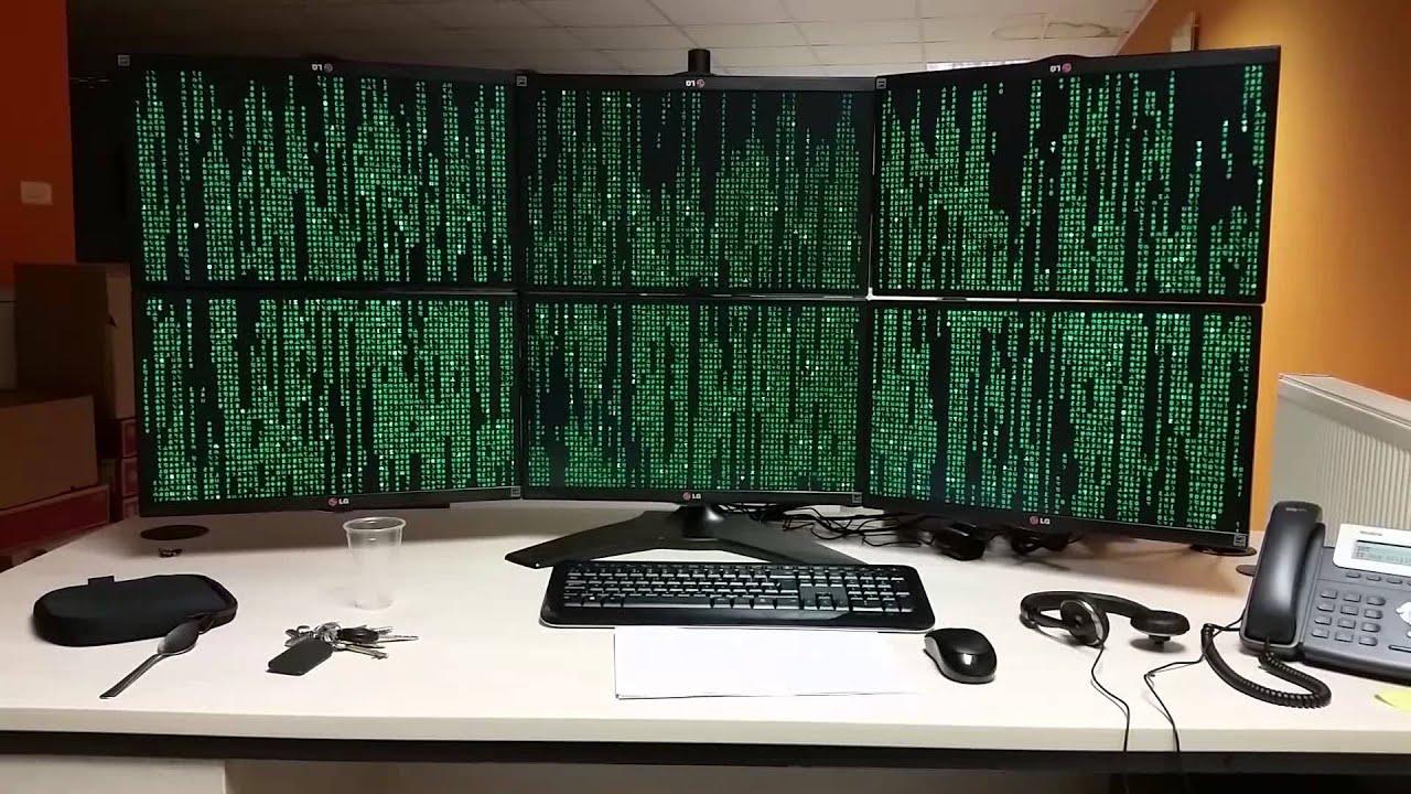 Work PC - 6 Screens Multi Monitor Setup - Eyefinity Matrix ScreenSaver