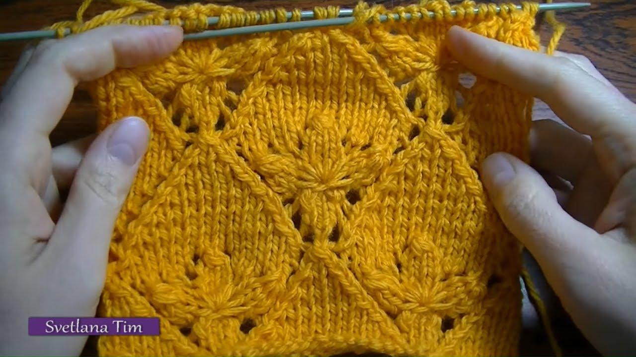 Вязание узор цветка спицами 255