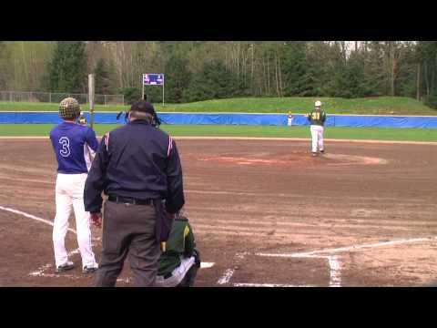 Ian Buckles pitching vs. Tahoma (Camera behind Cat...